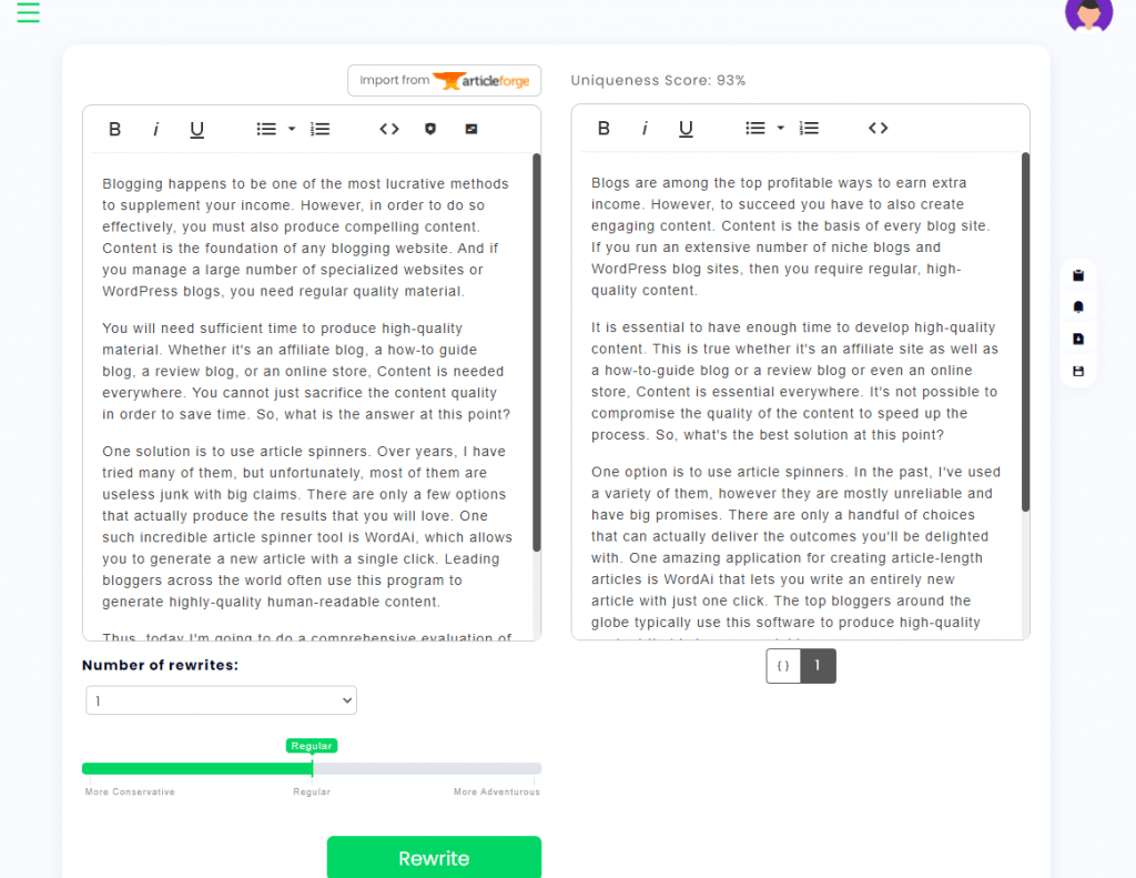 WordAi Interface